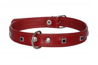 Ошейник Mister GaFF Premium 20 мм/45 см красный с украшением Черный Квадрат