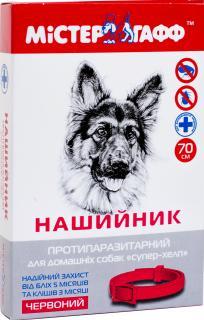 Ошейник от блох и клещей для собак «Мистер Гафф СУПЕР-ХЕЛП» (70 см, красный)
