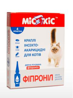 """Капли от блох и клещей """"Мис Кис Фипронил"""" для кошек"""